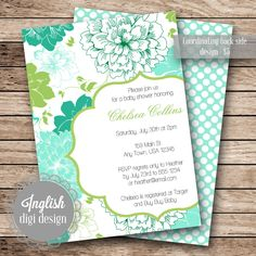 Printable Baby Shower Invitation  Spearmint by inglishdigidesign