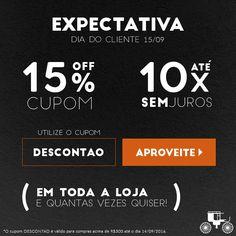 A expectativa para o Dia do Cliente está aumentando... E o desconto também! Aproveite o cupom DESCONTAO!!  http://carrodemo.la/0b899