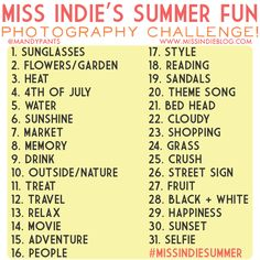 Miss Indie's Summer Fun Photography Challenge!