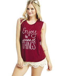 Super soft, super cool and totally positive, this soft knit muscle tank has a scripted graphic statement on the front that says Enjoy the Small Things with raw edge arm openings and hem. Latest Fashion Clothes, Fashion Outfits, Enjoying The Small Things, Muscle Tanks, Workout Tanks, Wet Seal, Get Dressed, Cute Outfits, Raw Edge