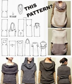 urbandon: RANDOM SEWING PATTERNS This looks like an interesting way to make a multi purpose garment. Looks like this could be a very easy, but long knitting project Diy Clothing, Sewing Clothes, Clothing Patterns, Sewing Hacks, Sewing Tutorials, Sewing Crafts, Diy Crafts, Knitting Patterns, Sewing Patterns