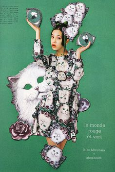 AHCAHCUM.muchacha: Kiko Mizuhara x ahcahcum あちゃちゅむムチャチャ kittie dress #fashion #SS2013 #cats #kitties #kawaii #ahcahcum #muchacha #harajuku #photography #graphicdesign