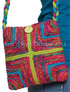 """""""Mitered Square Purse"""" designed by Lorna Miser. #knit #knitting #diy"""