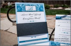 Formal, Traditional Elegance and Flourish Wedding Invitations - Silver Level via Etsy