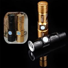 LED Mini Aluminum Flashlight Waterproof Zoom Tactical Torch Lamp Camping Fishing Bicycle Protable Light 3 Modes USB Recharge(China (Mainland))