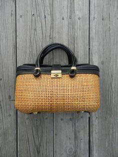 wicker purse / leather / beach goth / grey gardens by GaudyGod