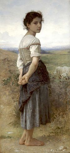 Learn more about Jeune Bergere (Young Shepherdess) William-Adolphe Bouguereau - oil artwork, painted by one of the most celebrated masters in the history of art. William Adolphe Bouguereau, Paintings I Love, Beautiful Paintings, Painting Pictures, Carl Spitzweg, Munier, Illustration Art, Illustrations, Portraits