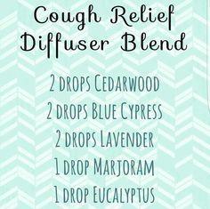 Cough relief diffuser blend: cedarwood, blue cypress, lavender, marjoram, eucalyptus essential oils