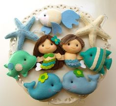 UNDER THE SEA PARTY FAVORS - listing is for a set of 2 mermaids and 3 sea friends of your choice
