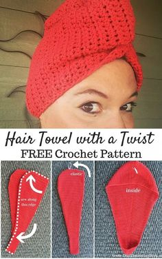 Hair Towel with a Twist (FREE Crochet Pattern) Do you have long hair? Hate how your towel won't stay on your head after you shower? You need a Hair Towel with a Twist, and I have a FREE crochet pattern! Mode Crochet, Crochet Gratis, Crochet Towel, Crochet Yarn, Crochet With Cotton Yarn, Crochet Headbands, Knit Headband, Flower Headbands, Baby Headbands