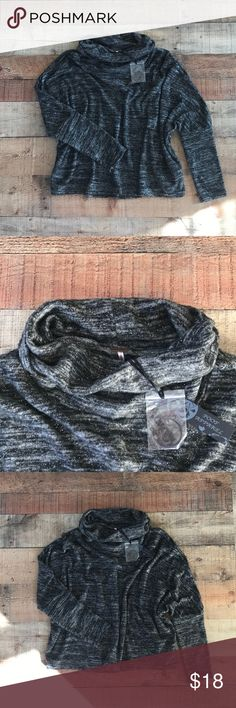 Grey/black poof apparel Sweater Top No snags or stains! Sparkle accent in material Poof Apparel Sweaters Cowl & Turtlenecks