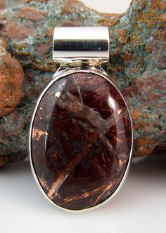 Unique native copper ore stone pendant with sterling by rwilberg