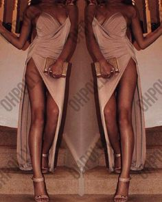 Womens Nude Drape Evening Leg Split Wrap Asymmetric Hem Cocktail Maxi Gown Dress