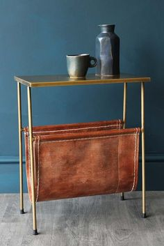 Gatsby Side Table with Leather Magazine Holder - View All - Furniture