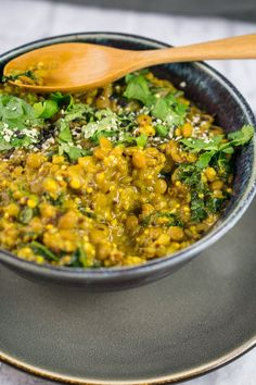 One Pot Curried Lentils and Quinoa with Kale (Vegan & Gluten-free)