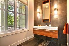 Contemporary warm house - contemporary - powder room - montreal - Melyssa Robert Designer