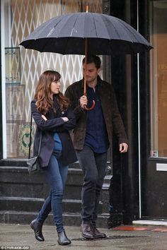Transforming into Anastasia Steele: Dakota, 26, was dressed casually for the scenes...
