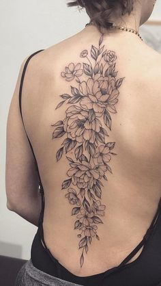29 Ideas For Tattoo Ideas Female Inspiration Awesome : Page 10 of 29 : Creative Vision Design – Tattoo ideen Floral Back Tattoos, Flower Spine Tattoos, Tattoos For Women Flowers, Flower Tattoo Back, Female Spine Tattoos, Tattoo Flowers, Tattoo Girls, Girl Back Tattoos, Beautiful Small Tattoos