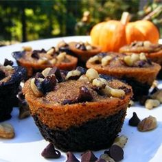 """Pumpkin Brownies   """"A twist on a classic brownie recipe--perfect for fall! Rich chocolate flavors are nicely complemented by pumpkin and spices."""""""