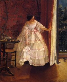 Lady at a Window Feeding Birds by Alfred Stevens, ca 1859