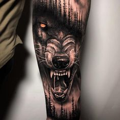 Skin Giants - The Best Tattoos pe Wolf amp; Forest Artist: maddog_tattoos skingiants for daily tattoos! Sharing only the best tattoos Wolf Tattoo Forearm, Wolf Tattoo Sleeve, Cool Forearm Tattoos, Best Sleeve Tattoos, Tattoo Sleeve Designs, Lion Tattoo, Tattoo Designs Men, Body Art Tattoos, Tattoo Wolf