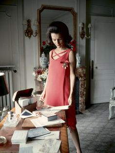 Princess Lee Radziwill, sister of Jackie Kennedy, pictured here in 1960 Dior dress, reads at her desk. Radziwill was one of the most stylish women of her era. Photograph by Mark Shaw. In the 1960s, Radziwill attempted to forge a career as an actress. Her acting attempt was unsuccessful, but she did receive international publicity. Largely untrained, Radziwill received dismal reviews in the 1967 production of The Philadelphia Story, starring as spoiled Main Line heiress Tracy Lord.