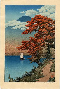 Lake Chuzenji At Nikko, by Kawase Hasui, 1930 -- see also at: http://www.artelino.com/articles/mount-fuji-hasui.asp