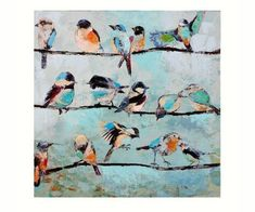 Birds on a Wire Stretched Canvas Oil Painting - love this, I see it every day in my great room!!!! #OilPaintingBirds