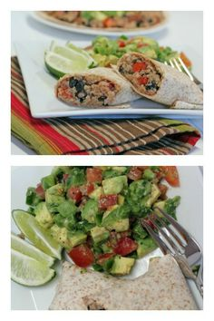"Quinoa and Black Bean Burritos with homemade ""Guac De Gallo"" 