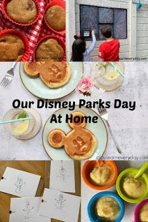 We missed out on our trip to Disney World during the Coronavirus pandemic, so we had our own Disney Parks day at home with the help of some crafts and lots of great videos (links included). Disney World Parks, Walt Disney World Vacations, Disney Trips, Disney Cute, Disney Day, Disney At Home, Kids Activities At Home, Disney Birthday, Disney Dining