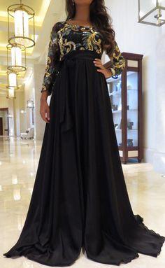Elegance Collection: Black Silk&Sequin Flow