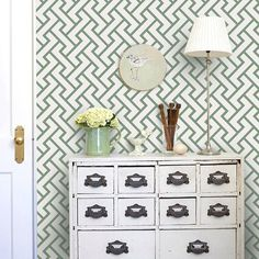 Retro Geometric Pattern Green PEEL & STICK Fabric Wallpaper