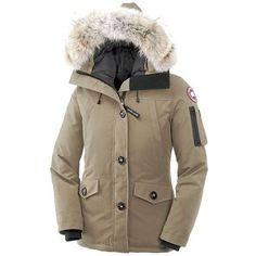 Canada Goose Women's Montebello Parka (1,035 CAD) ❤ liked on Polyvore featuring outerwear, coats, tan, brown coat, fur hooded parka, tan coat, hooded coats and canada goose coats