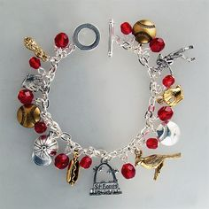 St. Louis Baseball Charm Bracelet. Perfect for the gal who can't get enough Cardinals Baseball!