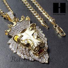 Hip Hop Iced Lab Diamond Gold PT King Lion Pendant w/ Cuban Chain - Lion Jewelry - Ideas of Lion Jewelry Silver Pendants, Chain Pendants, Pendant Jewelry, Pendant Necklace, Jewelry Necklaces, Luxury Jewelry, Modern Jewelry, Lab Diamonds, Like4like
