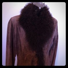 Pigalle leather coat with faux fur Great condition, 100% leather 100% poly, brown Pigalle Jackets & Coats