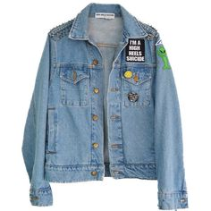 Patch It Up Denim jacket (46.705 COP) ❤ liked on Polyvore featuring outerwear, jackets, tops, spiked denim jacket, denim jacket, blue jean jacket, jean jacket and blue jackets
