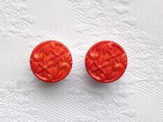 "Orange Ornate Flower Floral Design Vintage Pair Plugs Gauges Size: 5/8"" (16mm) by PorcupineSpines"
