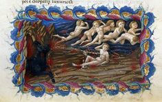 From the Medieval Manuscripts blog post 'Prepare to meet your doom'. Image: Detail of a miniature showing the punishment of cardinal sinners in Hell, from the 'Divine Comedy' by Dante Alighieri, Italy (Tuscany), 1444-c. 1450.