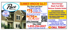 Pace Windows & Doors Couponand specials. summer sale. rochester ny