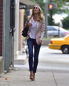 Hamming it up: Heidi Klum showed why she is a beauty and style icon in New York on Wednesd...