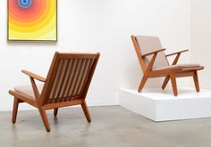 PAIR of Danish Modern POUL VOLTHER Lounge Chairs Mid Century Hvidt Juhl Wegner #DanishModern
