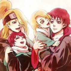 Deidara and Sasori with their little kid versions, so cute!!! <3