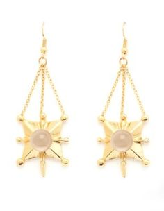 crystal ball geometric dangling earrings