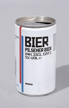 20 Vintage Dutch Packaging designs - our favourite is this minimalist Bier can. http://www.thedieline.com/blog/2013/9/11/20-vintage-dutch-package-designs.html