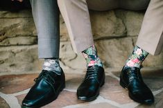 floral socks for the groomsmen