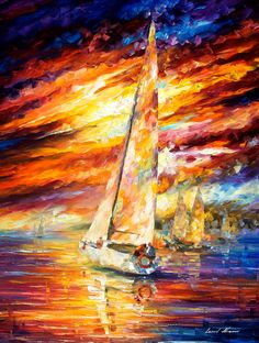 Sailing To The Horizon — PALETTE KNIFE Oil Painting On Canvas By Leonid Afremov #AfremovArtStudio #afremov #art #painting #fineart