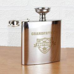 Personalised Football Gifts - Personalised Football Hip Flask Present - Vivabop - www.vivabop.co.uk