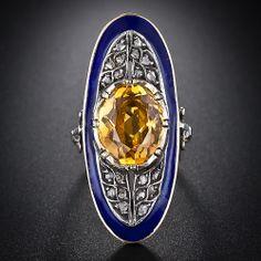 Georgian Citrine and Rose-Cut Diamond Ring - 30-1-1780 - Lang Antiques