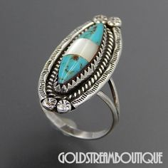 Native American Navajo Sterling Silver Turquoise & Mother Of Pearl Eth – Gold Stream Boutique